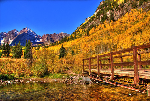 bridge blue autumn trees sky lake mountains fall nature water creek landscape colorado footbridge maroon foliage trail aspen maroonbells bridging bridgepixing bridgepix