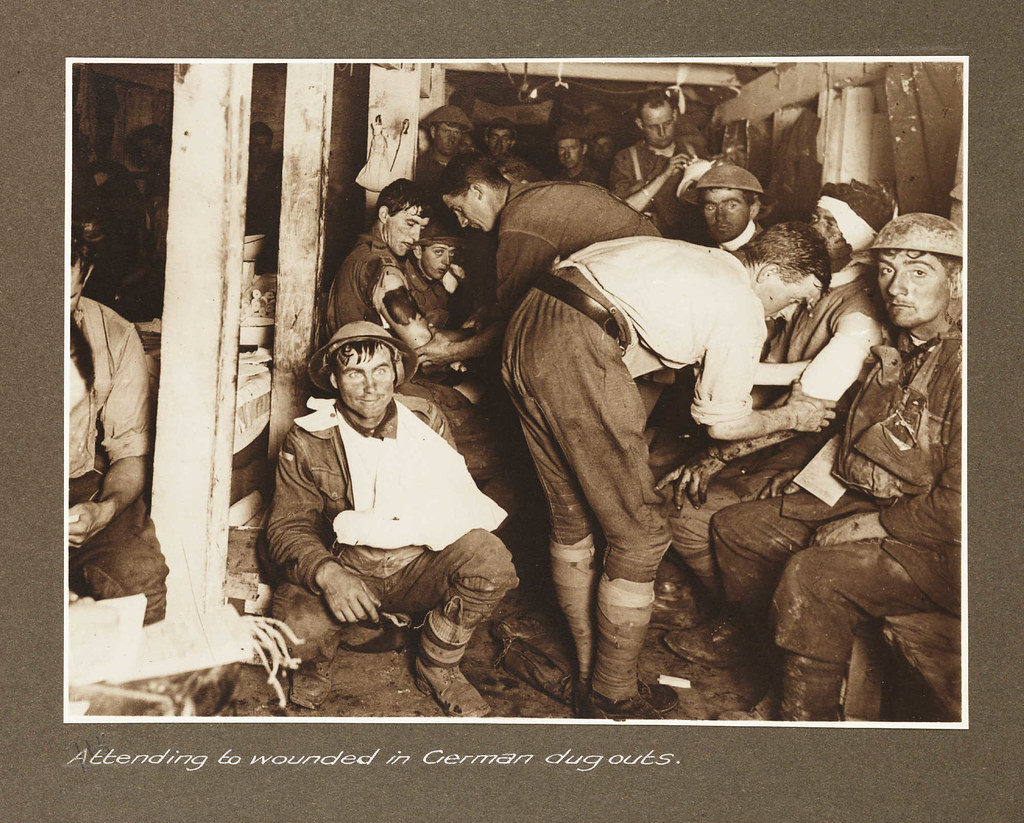 Attending to wounded in German dugouts