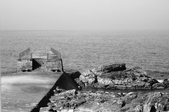 sea, ocean, breakwater, monochrome photography, wave, shore, terrain, monochrome, coast, black-and-white, rock,