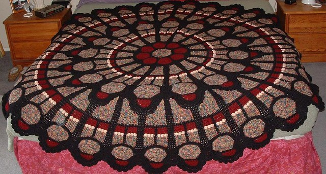 Free Crochet Pattern For Cathedral Window Afghan : Cathedral Rose Window Afghan (round) Flickr - Photo Sharing!