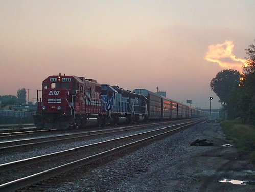 Eastbound Canadian Pacific freight train witing for clearance at sunset. Franklin Park Illinois. July 2007. by Eddie from Chicago