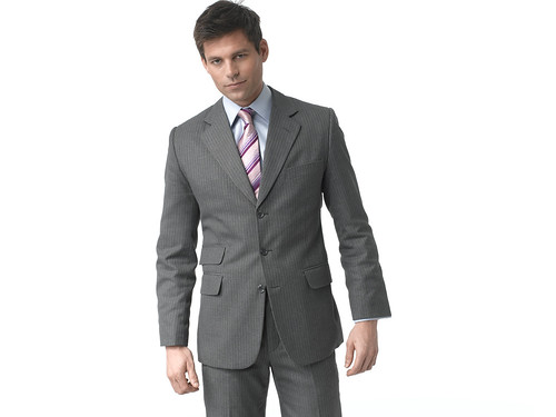 Mens business suit in gray