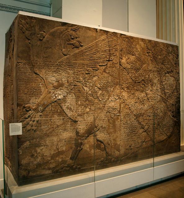 Assyrian relief carving asshur battles dragon flickr