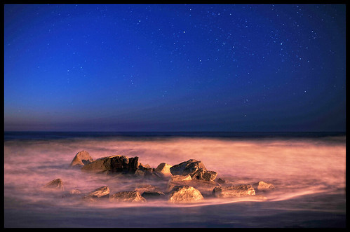 morning blue orange water night sunrise stars early rocks awesome swirl follybeach nikond3