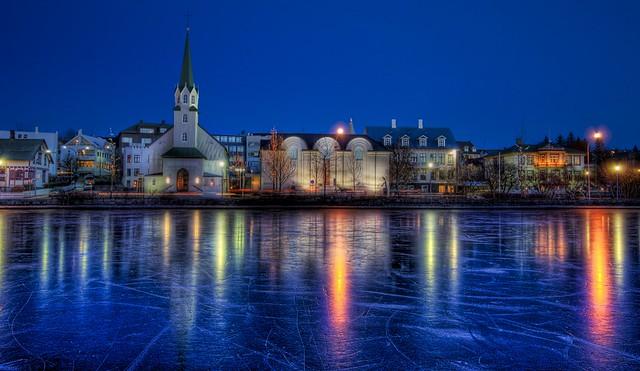 On Frozen Pond in Iceland