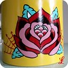 yellow rose vintage ice bucket - close up