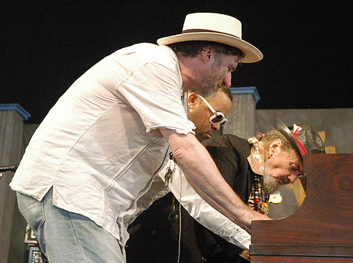 Jon Cleary, Davell Crawford and Dr. John all playing the same piano at the same time. (Photo by Black Mold)