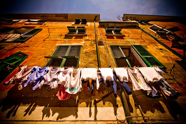 a colourful washing line