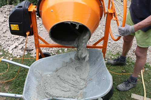 Cement from the mixer