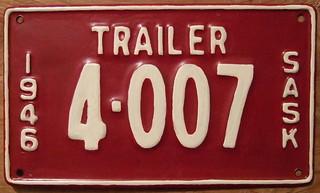 SASKATCHEWAN 1946 TRAILER plate
