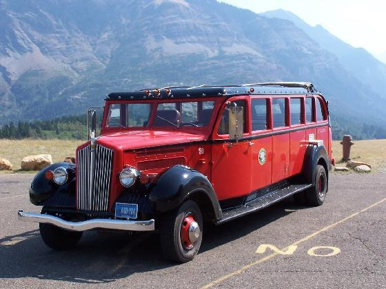 Red Bus at Waterton Lakes National Park