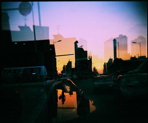 china city sunset urban film skyline landscape holga asia geometry doubleexposure superia100 shenyang liaoning