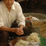 Chinese Man Selling Bean Sprouts - Yuanyang, China