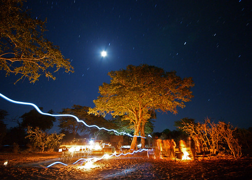 africa longexposure camping camp moon night fire sony safari botswana startrails a700