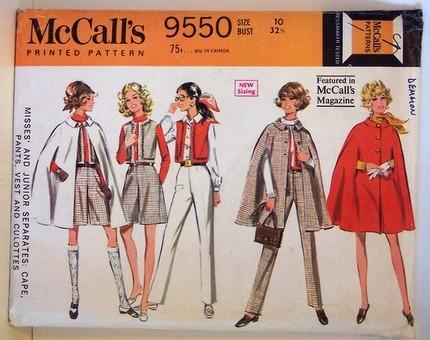 Vintage McCalls 9550 Pattern Cape Vest Culottes Pants Mod 60s Classic Style