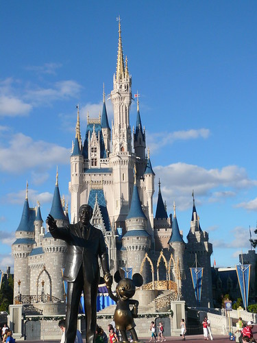 Walt Disney and Mickey Statue in front of Cinderella Castle Magic Kingdom Walt Disney World 2008