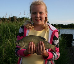 Rachel with a Bream from Moss Lake, caught on 8mm pellet using method feeder - 9th June 08.