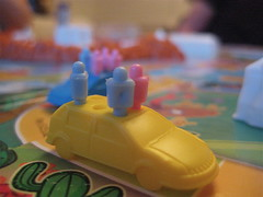Life boardgame car with pegs