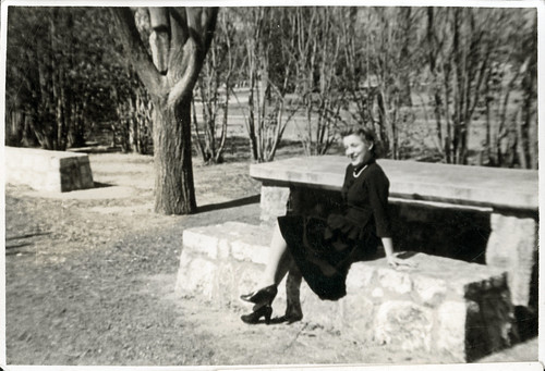 Girl at park bench 01
