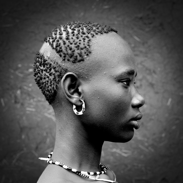 Bodi tribe woman haircut Ethiopia