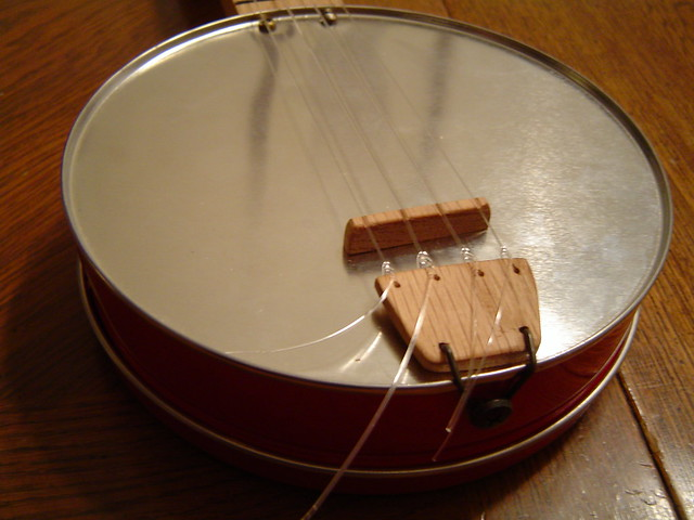 Cheese tin banjolele tailpiece flickr photo sharing for Can you recycle cookie tins