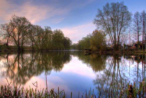 morning mist reflection tree river f22 soe hdr stångån kindakanal canonefs1785mmf456isusm canoneos40d johanklovsjö