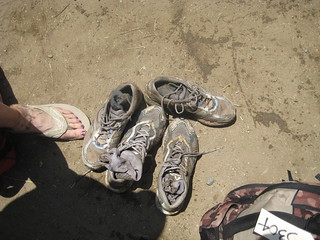 The shoes after a couple hours in the mud