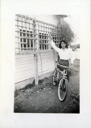 Gladys on a bike