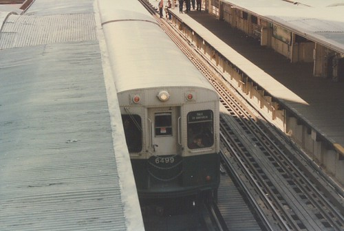 Chicago Transit Authority 6000 series rapid transit car on Chicago's downtown Loop elevated. Chicago Illinois. April 1986. by Eddie from Chicago
