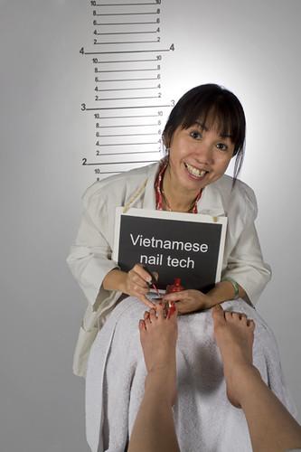 Asian nail technician