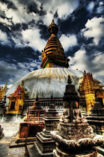 nepal sky clouds stupa buddhism kathmandu buddhisttemple hdr d300 themonkeytemple momentaryawe catalinmarin
