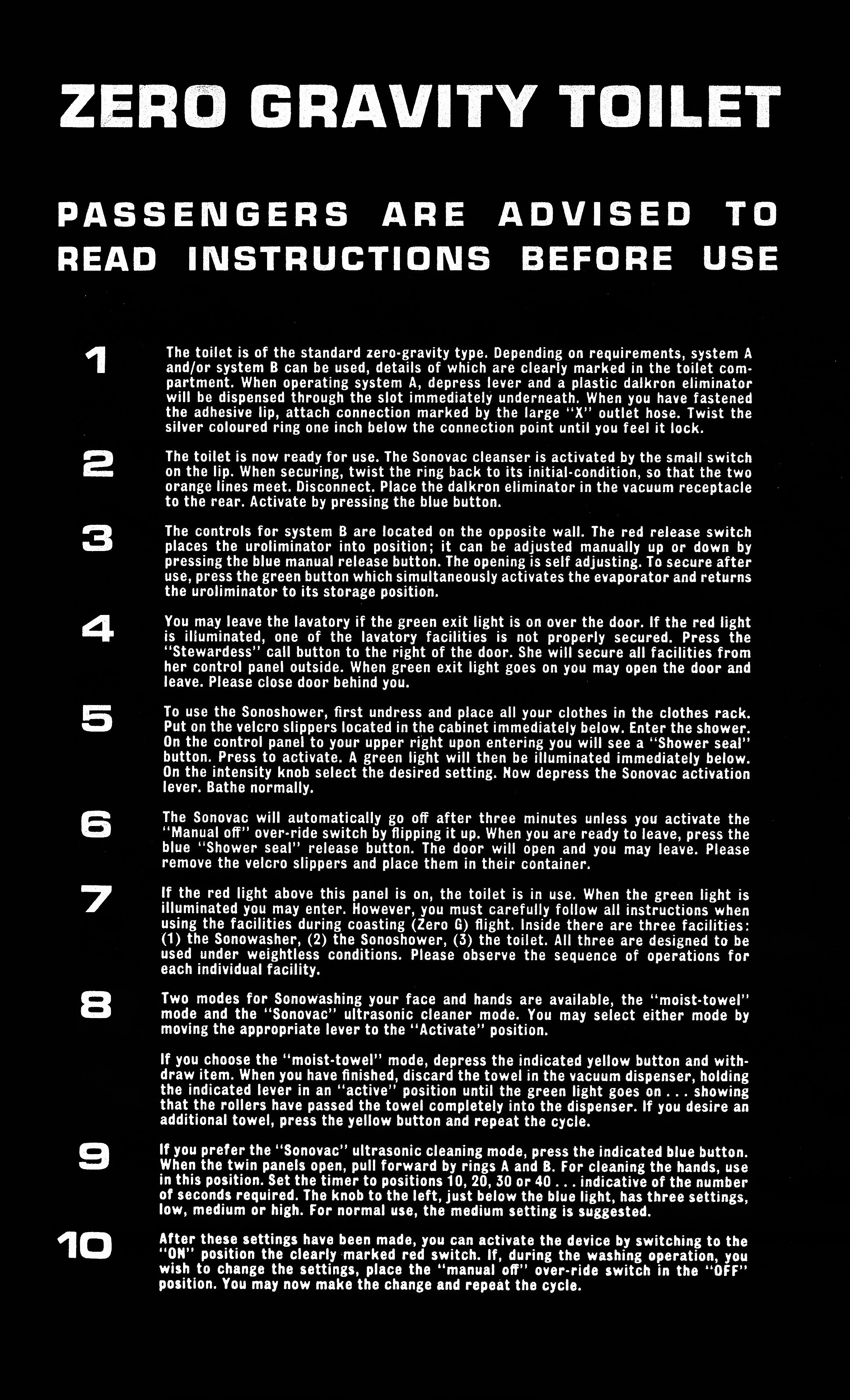 zero gravity toilet instructions poster