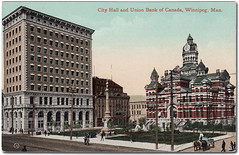 "Union Bank Tower (left) next to the Leland Hotel and the ""gingerbread"" City Hall, circa 1912"