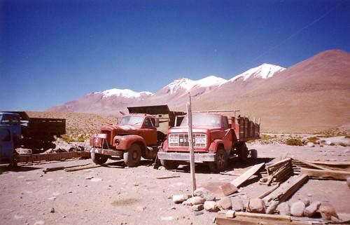 Big trucks in Uyuni, Bolivia. The salt desert.