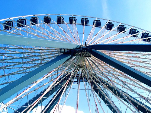 park sky lake wheel clouds amusement ferris flags theme darien six