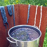 the indigo dye pot at Hope Spinnery