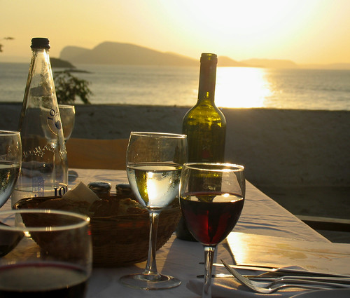 Wine, dinner and sunset watching....as near perfect as it gets