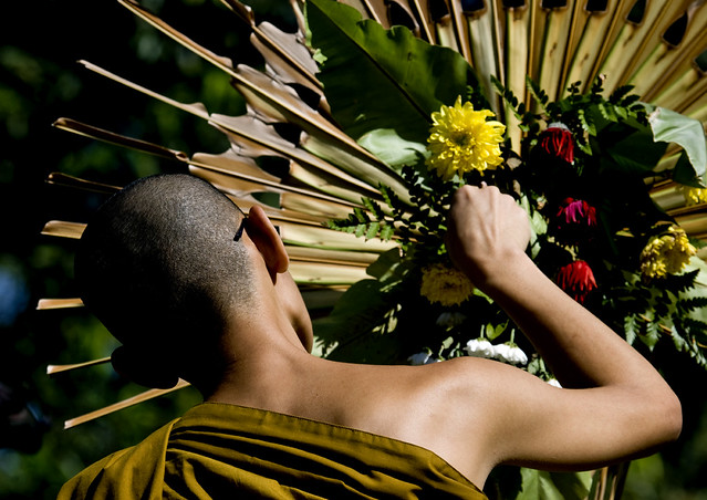 Monk during a buddhist ceremony in Java, Indonesia