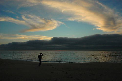On the beach, clouds over Half Moon Bay, gray cloud bank,  California, USA by Wonderlane