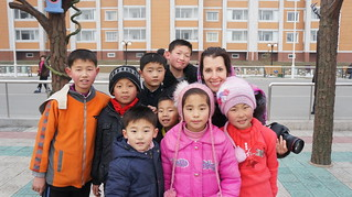 Friendly kids outside of the Scientist Complex in Pyongyang