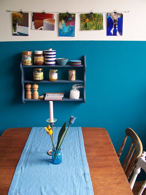new blue kitchen wall