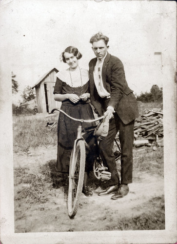 Man and woman with a bicycle