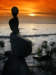 Sunset and balancing rock stack