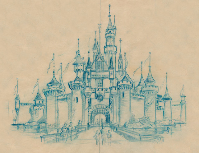 Sleeping Beauty Castle Sketch, 1955
