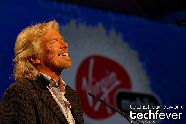 Virgin founder Sir Richard Branson during the opening keynote at CTIA Wireless in Las Vegas, NV.