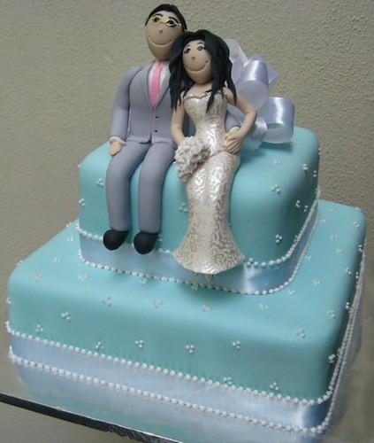 2tier tiffany blue wedding cake finished with white satin ribbons