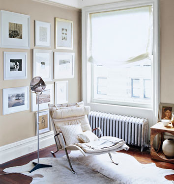 Neutral paint colors: 'Veil Cream' by Benjamin Moore + Corbusier chaise