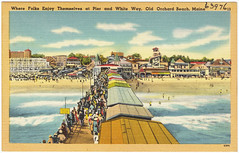 Where folks enjoy themselves at pier and White Way, Old Orchard Beach, Maine