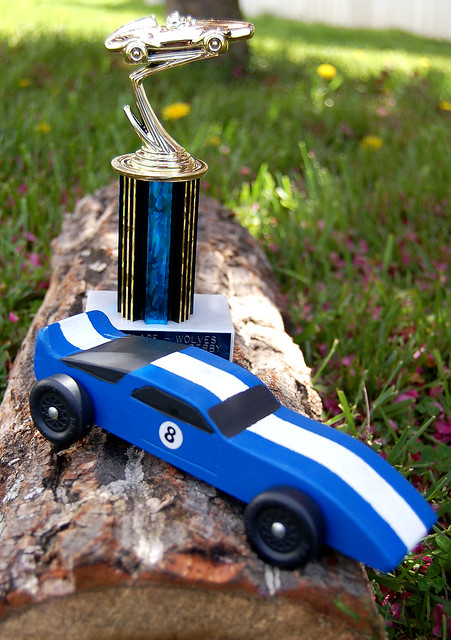 Gabe s pinewood derby car and st place trophy flickr
