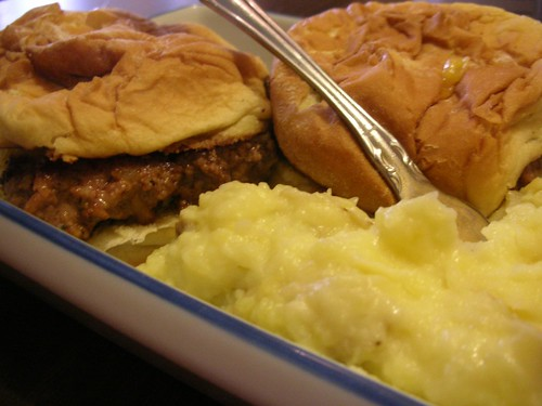 Sliders and mashed potatoes.